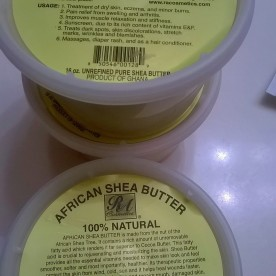 I got three tubs of natural, unrefined shea butter for a really great price.